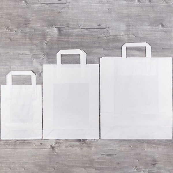 Bolsa Papel Asa Plana Celulosa Blanca Sin Impresión